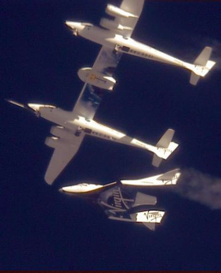 The Virgin Galactic SpaceShipTwo VSS Enterprise is released from the mothership WhiteKnightTwo VMS Eve over the Mojave, Calif., area in 2010.