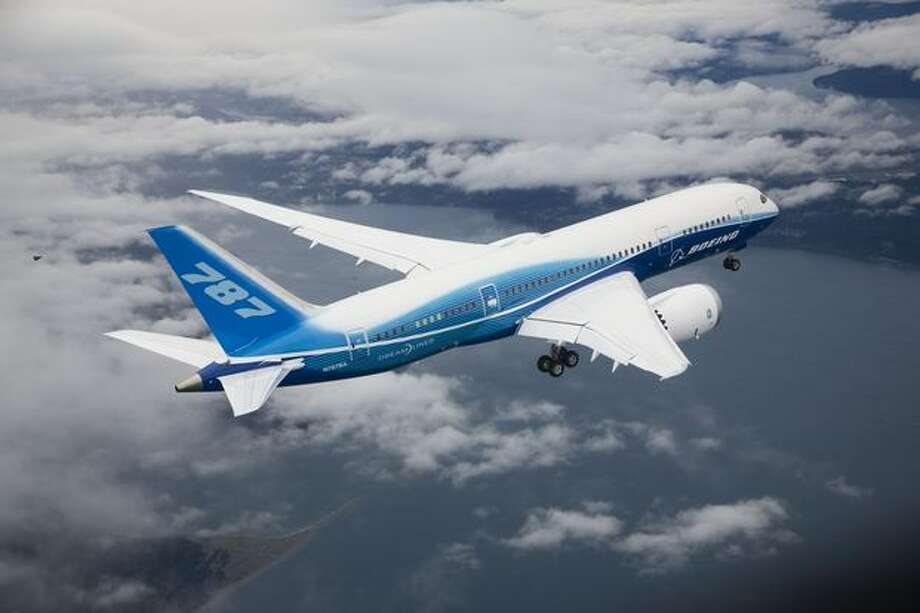 Boeing's first 787 Dreamliner, ZA001, over Western Washington during its first flight. Photo: The Boeing Company