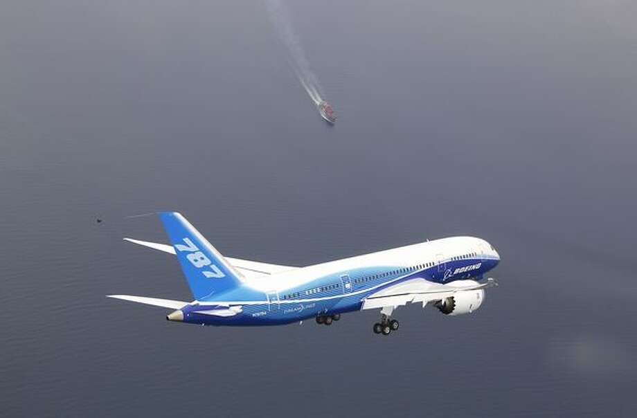 Boeing's first 787 Dreamliner over Western Washington during its first flight. Photo: The Boeing Company