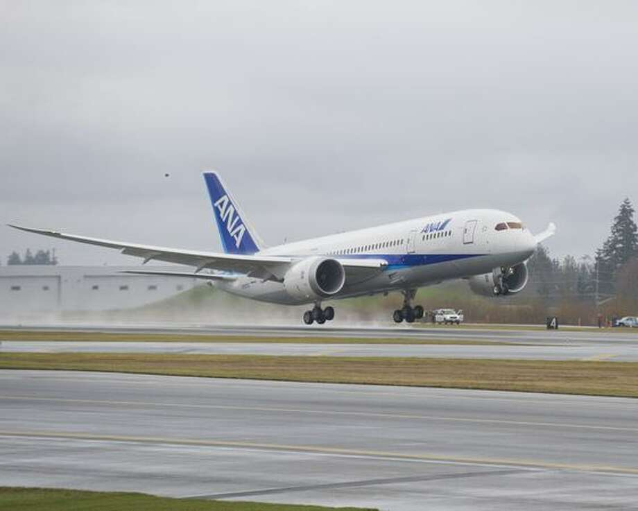 Boeing's second Boeing 787 Dreamliner, ZA002, lands at Boeing Field after its first flight. The jet bears the livery of launch customer All Nippon Airways. Photo: The Boeing Company