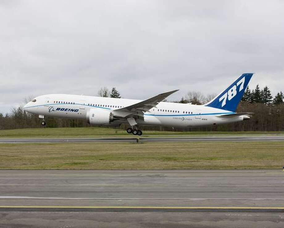 The fourth Boeing 787 Dreamliner to be built, ZA004, becomes the third to fly, taking off from Paine Field, in Everett. Photo: The Boeing Company