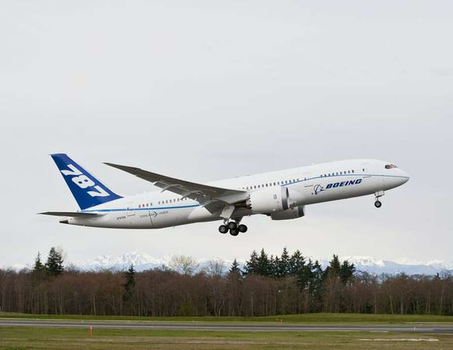 The third Boeing 787 Dreamliner to be built, ZA003, becomes the fourth to fly, taking off from Paine Field, in Everett. Photo: The Boeing Company
