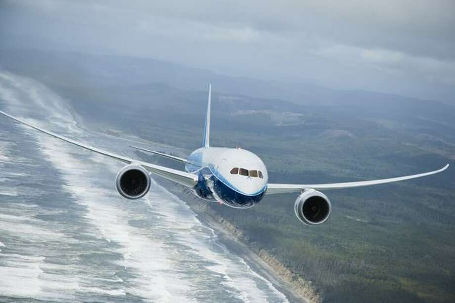 Air-to-air photo of Boeing's first 787, ZA001. Photo: The Boeing Company