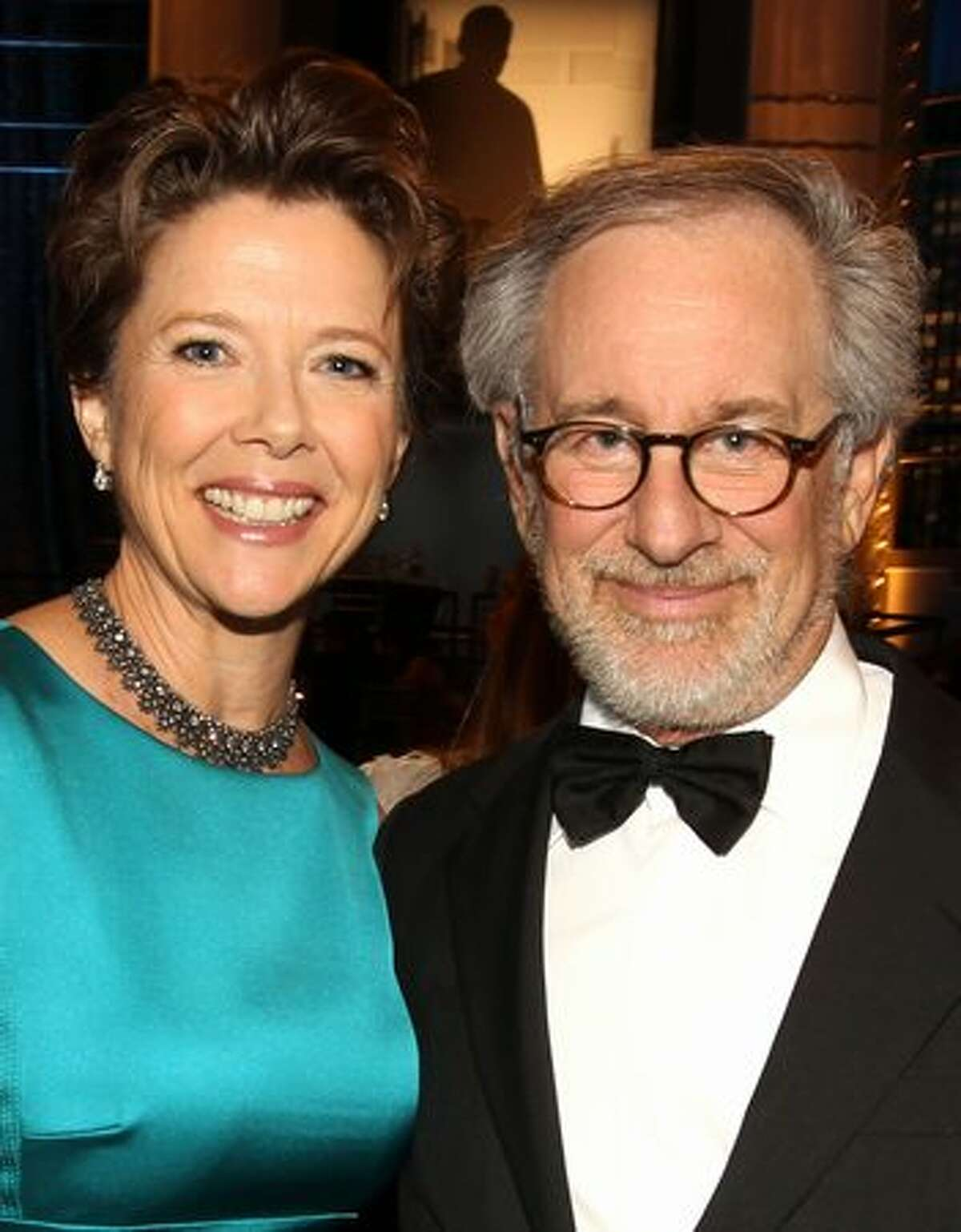 Actress Annette Bening (L) and Director Steven Spielberg the audience during the 38th AFI Life Achievement Award honoring Mike Nichols held at Sony Pictures Studios.