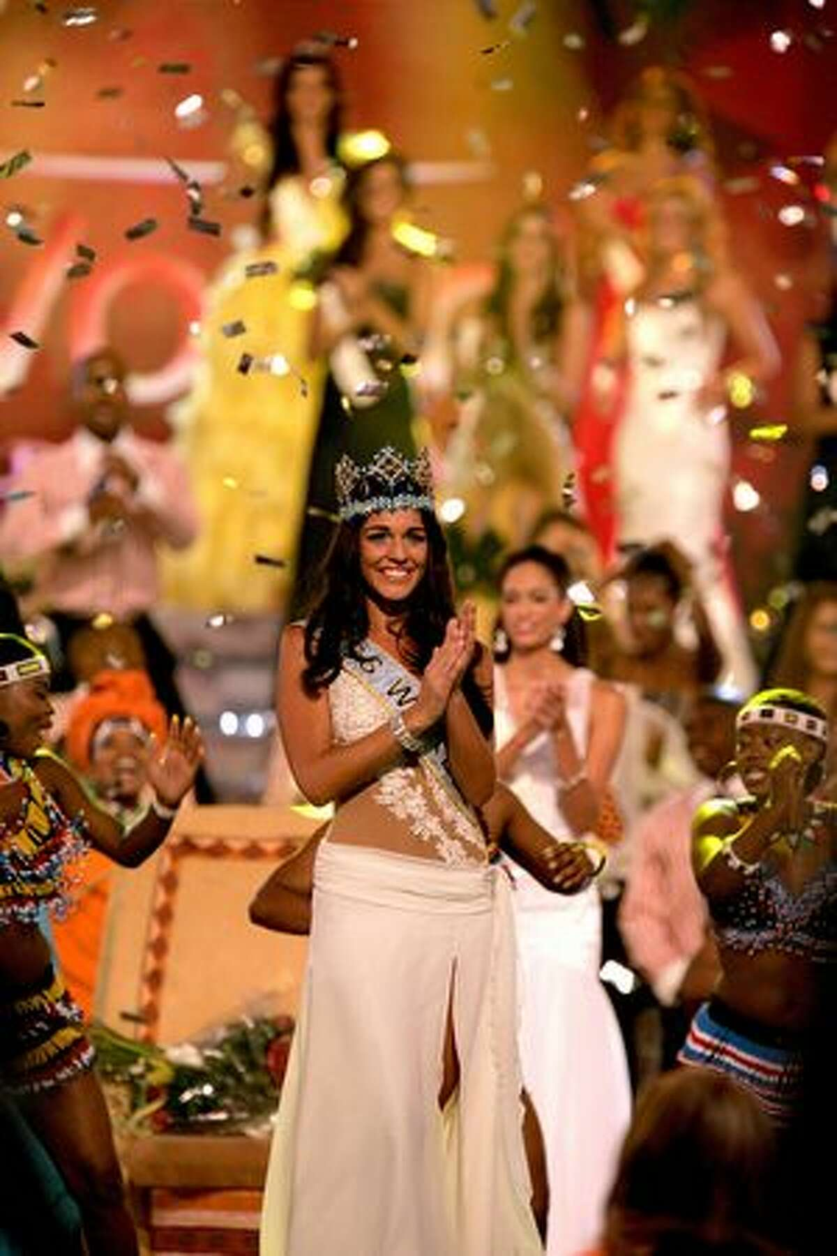 Miss Gibraltar Kaiane Aldorino is crowned Miss World 2009 at Gallagher Convention Center in Johannesburg, South Africa.