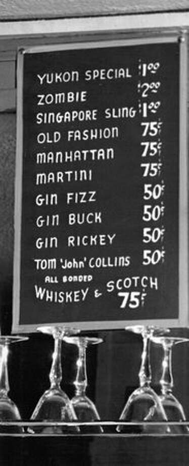 Prices at the Yukon Tavern in Seattle, 1947. Photo: P-I File