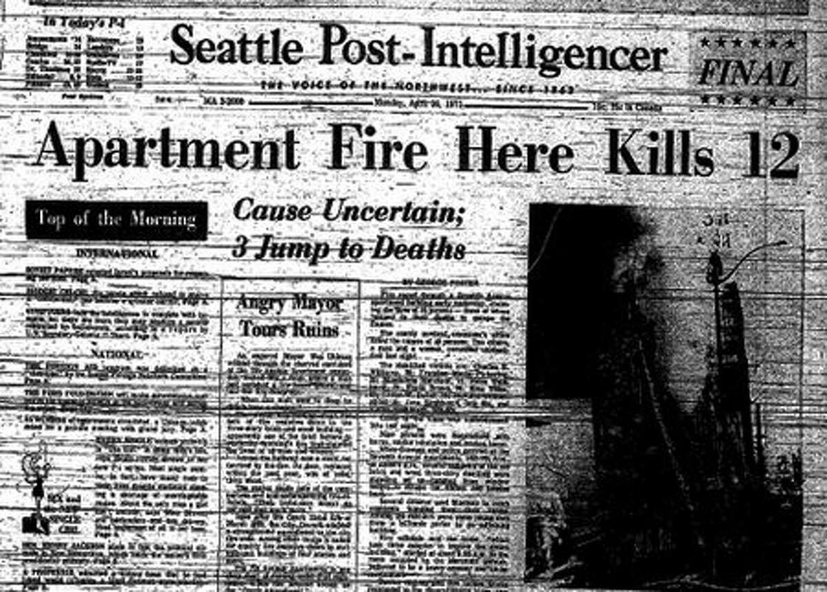 Saturday's blaze is the deadliest fire in Seattle since April 25, 1971, when 12 people were killed in an apartment fire. A year before, on March 21, 1970, 21 people died and 13 others were hurt when an arsonist started the Ozark Hotel at 2038 Westlake Avenue. The arsonist was not caught, but the city created what's known as the Ozark ordinance. That law, passed in June 1970, required existing apartments, apartment hotels and hotels four stories or higher to have fire-resistive stairways and doors, or a sprinkler alternative.