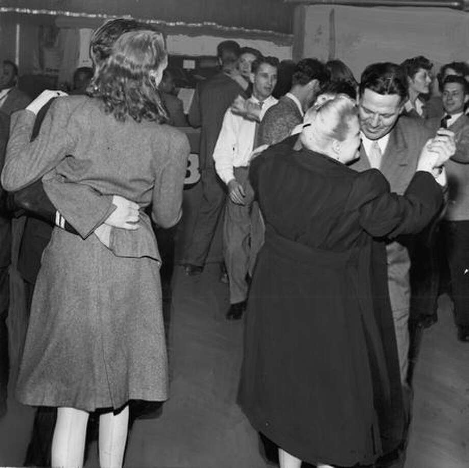"Dancers at the Yukon Club during the ""Golden Braids"" raids, Nov. 30, 1947. Photo: P-I File"