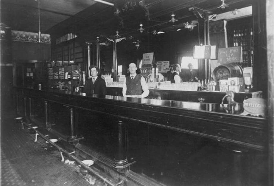 The interior of Ludovic Saloon. Note the 5 cents a drink sign. Date unknown. Photo: P-I File