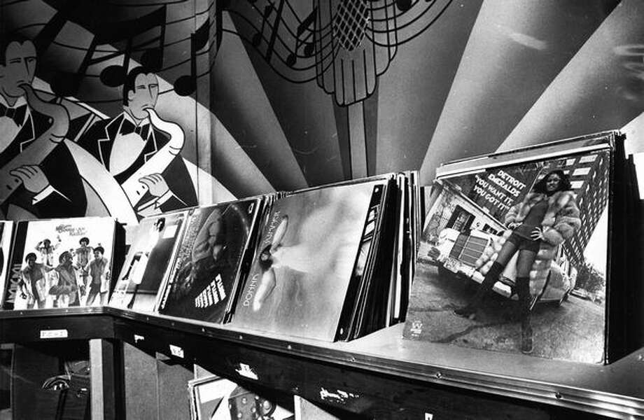 Stacks of Vinyl Records at Shelly's Leg, 1976. Photo: P-I File
