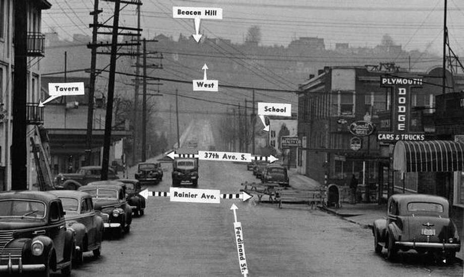 This 1946 picture shows the intersection of what's now Rainier Avenue South and South Ferdinand Street. The State Liquor Control Board allowed taverns near school as long as they were 500 feet away. Parents complained that year about some that were closer. Photo: P-I File