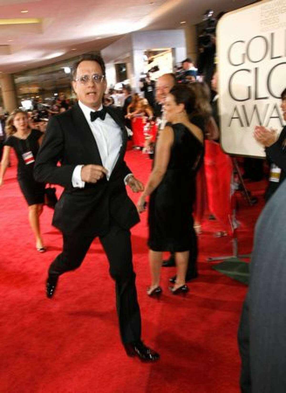 Actor Tom Hanks runs at the 66th Golden Globe Awards held at the Beverly Hilton Hotel on Jan. 11 in Beverly Hills, Calif.