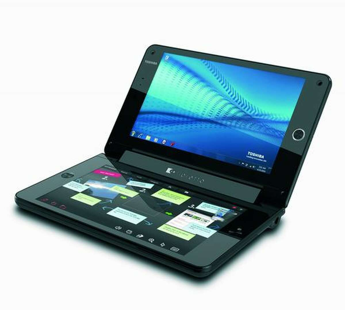 The Toshiba Libretto W100 concept netbook/booklet/tablet PC runs Microsoft Windows 7.