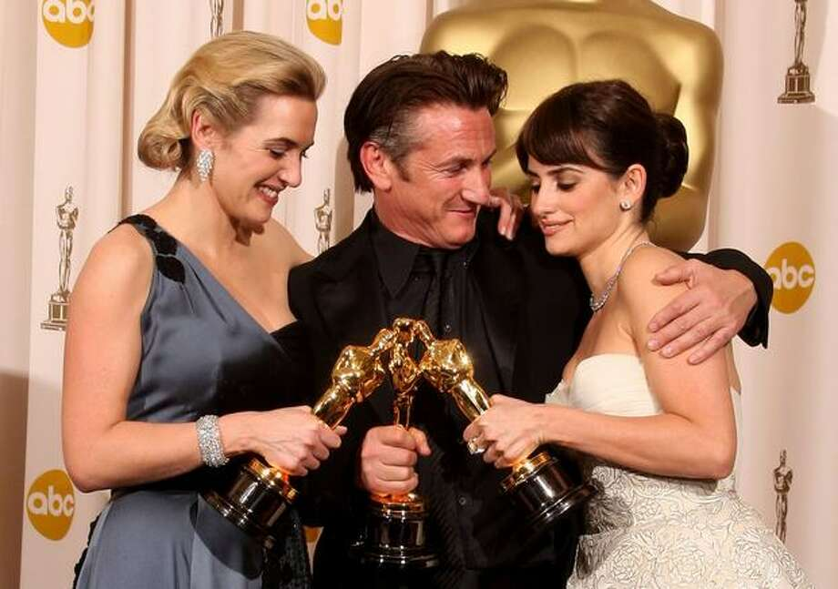 "(From left) Actress Kate Winslet, winner Best Actress for ""The Reader;"" actor Sean Penn, winner Best Actor for ""Milk;"" and actress Penelope Cruz, winner Best Supporting Actress for ""Vicky Cristina Barcelona,"" pose with their awards in the press room at the 81st annual Academy Awards held at Kodak Theatre on Feb. 22 in Los Angeles. Photo: Getty Images"
