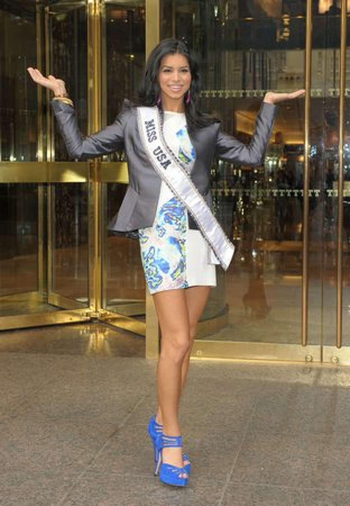 Miss USA 2010 Rima Fakih visits Trump Tower in New York, where she will share a penthouse with the reigning Miss Universe and Miss Teen USA, on May 20.