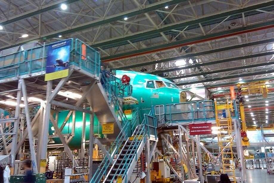A 777 in production in Boeing's wide-body plant in Everett, Wash. Photo: Aubrey Cohen, Seattlepi.com