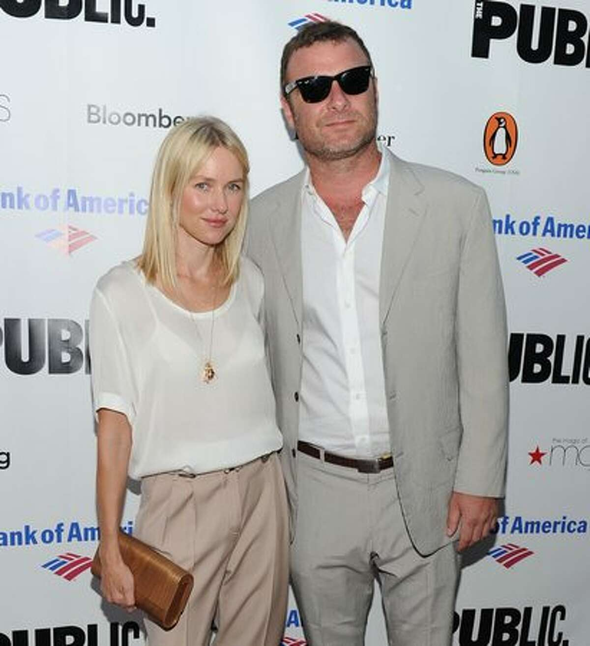 Actress Naomi Watts and actor Liev Schreiber attend the 2010 Public Theater Gala at the Delacorte Theater.