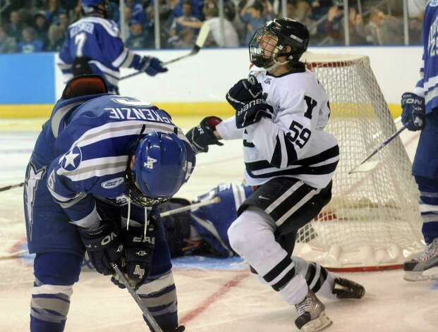 Yale's #59 Chad Ziegler celebrates his sudden death goal against Air Force, during NCAA hockey tournament action at the Webster Bank Arena at Harbor Yard in Bridgeport on Wednesday March 25, 2011. Yale beat Air Force in overtime 2-1. Photo: Christian Abraham / Connecticut Post