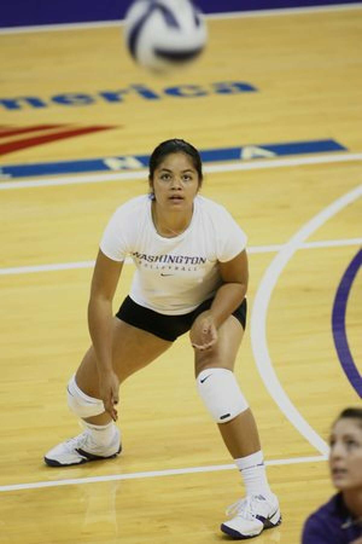Tamari Miayshiro tracks the ball during practice. UW Volleyball team practice at Hec Ed. Wednesday, September 24, 2008 Seattle. Photograph by Grant M. Haller/Seattle Post-Intelligencer