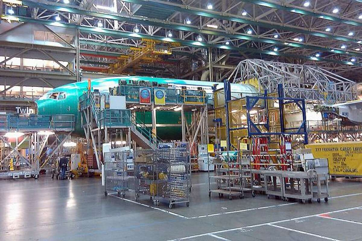 A 777 in production in Boeing's wide-body plant in Everett, Wash.