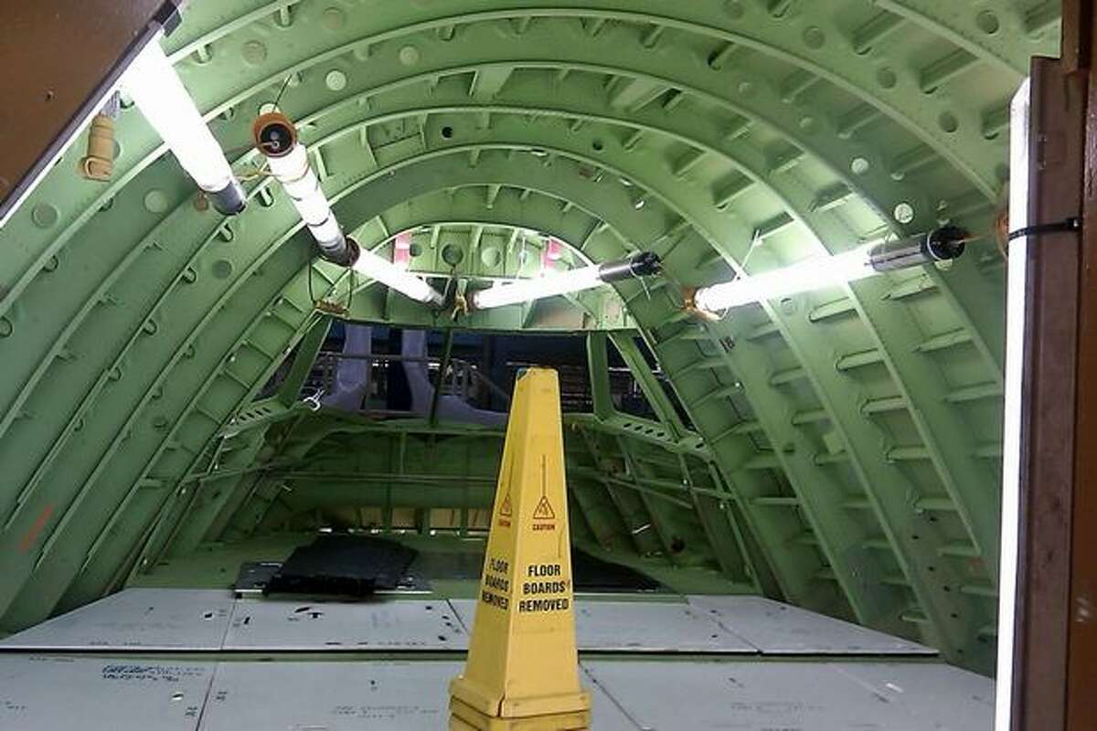 The forward section of the first 747-8 Intercontinental -- the passenger version of the 747-8 -- in assembly at Boeing's wide-body plant in Everett, Wash.