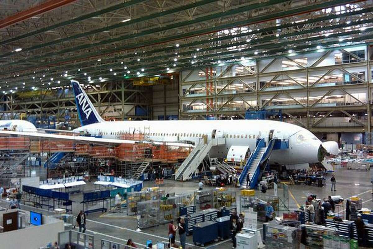 Boeing's ninth 787 Dreamliner, the third for launch customer All Nippon Airways, in production in Boeing's wide-body plant in Everett, Wash.