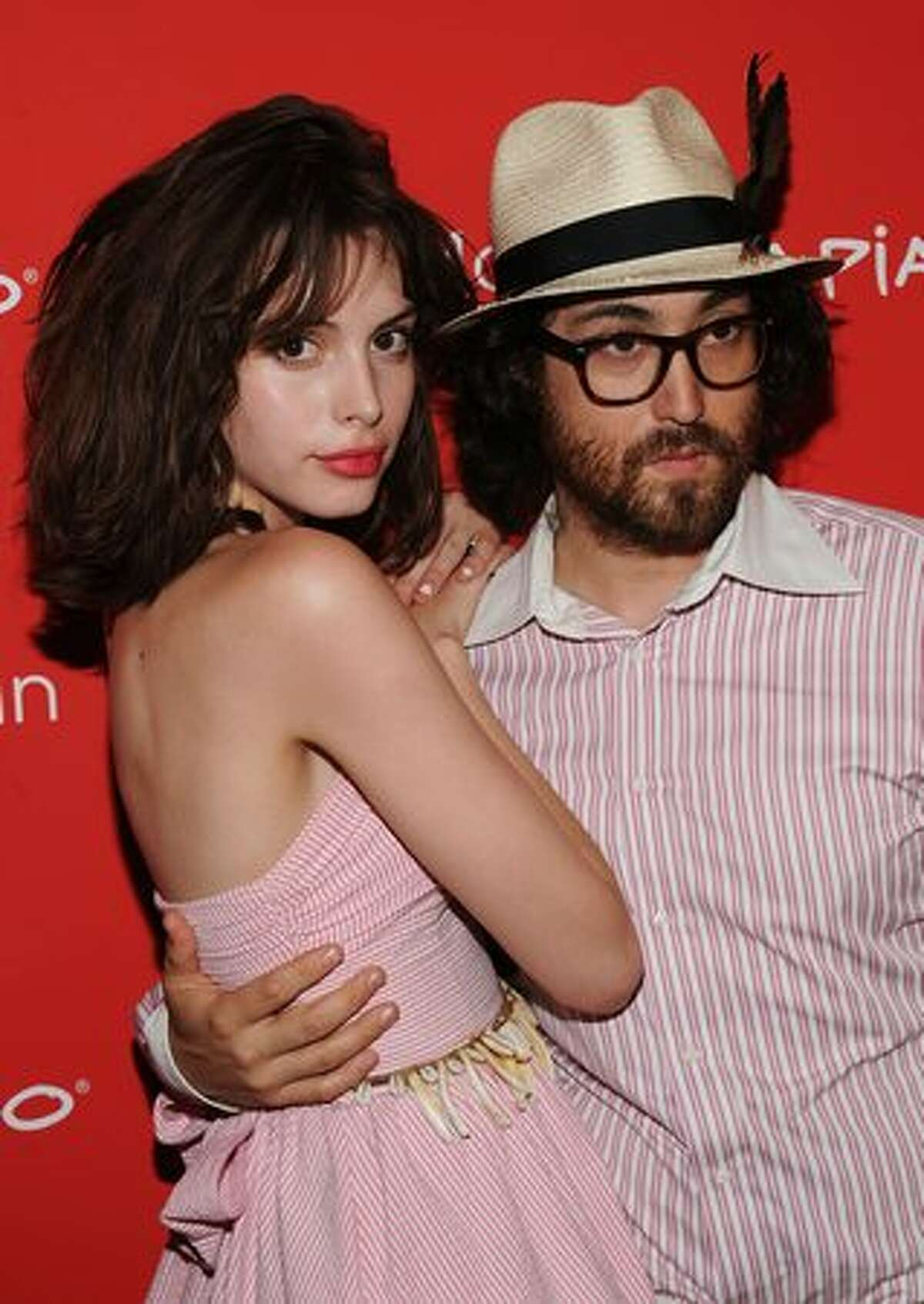 Musician Sean Lennon (R) and Charlotte Kemp Muhl attend the premiere of