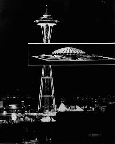 A picure of how a proposed stadium would look at Seattle Center, March 1969. Photo: P-I File