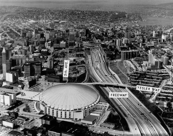 An 1968 architect's concept of a stadium at Fifth Avenue and Yesler Way. Photo: P-I File