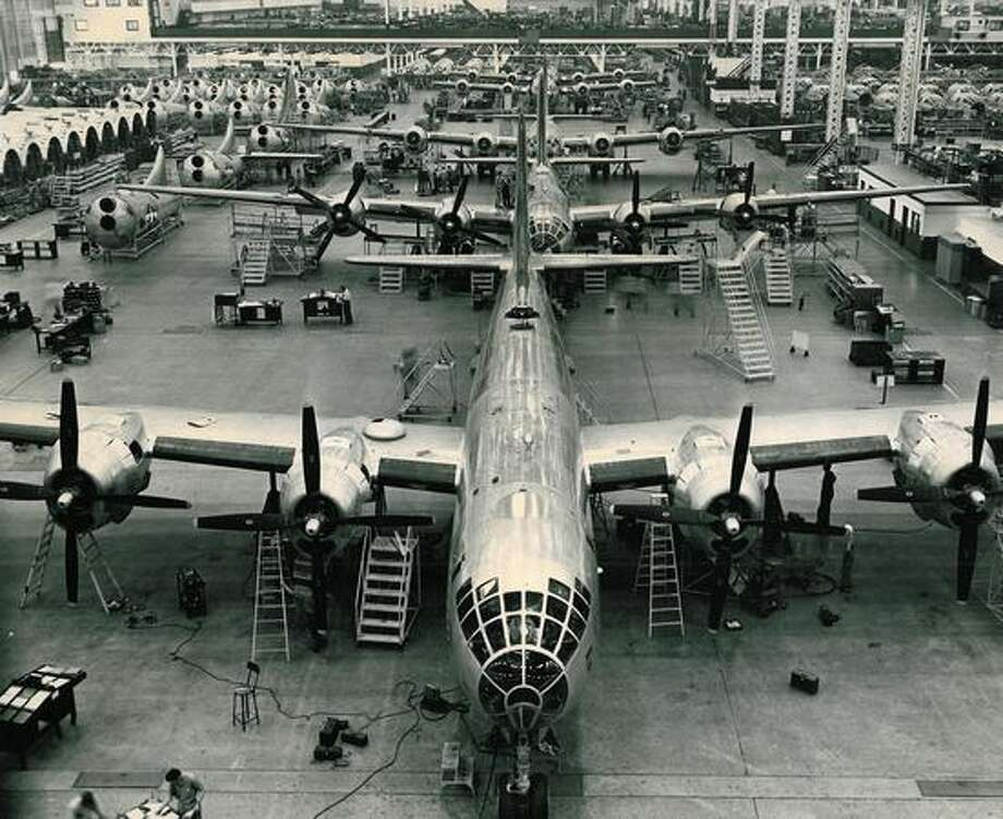 A Boeing B-29 Superfortress assembly line in 1944. Photo: P-I File