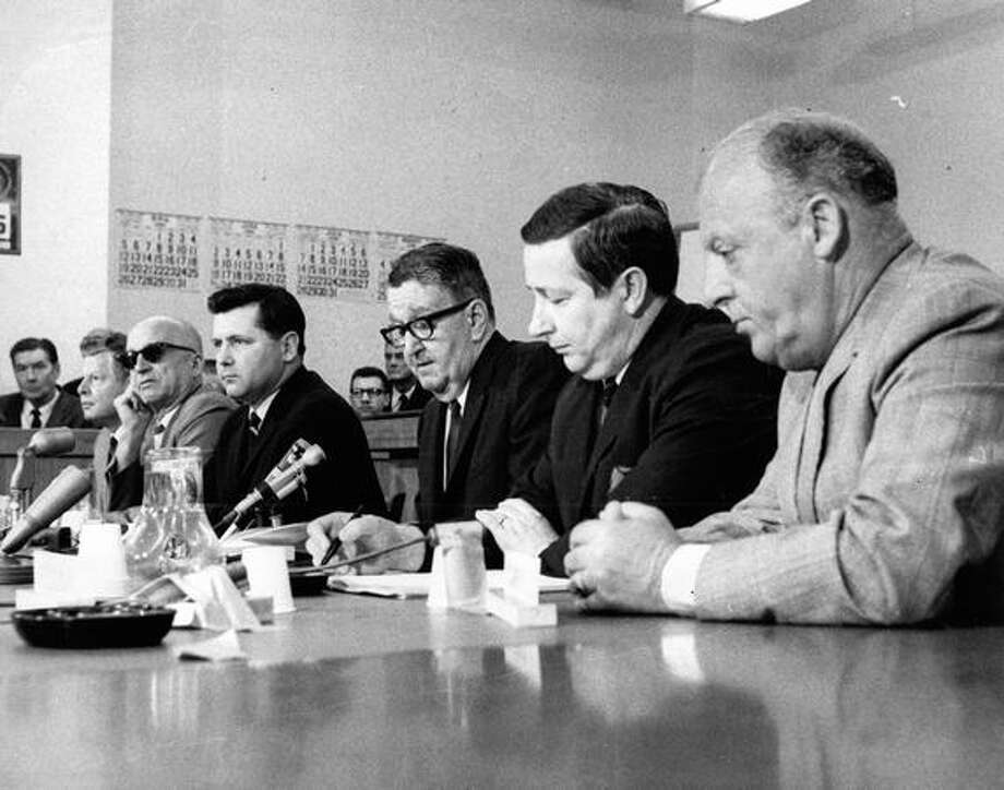 From left, Dave Cohn, Floyd Miller, John O'Brian, Joe Gandy, John Spellman and Charles Carroll meet to hear details on the stadium proposal, June 1968. Photo: P-I File