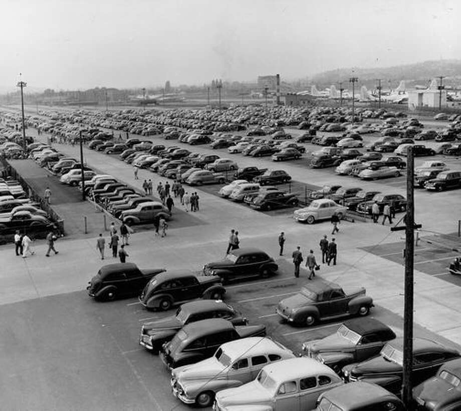 A 1948 view looking north over the general Boeing parking area across Marginal Way from Plant 2. Photo: P-I File