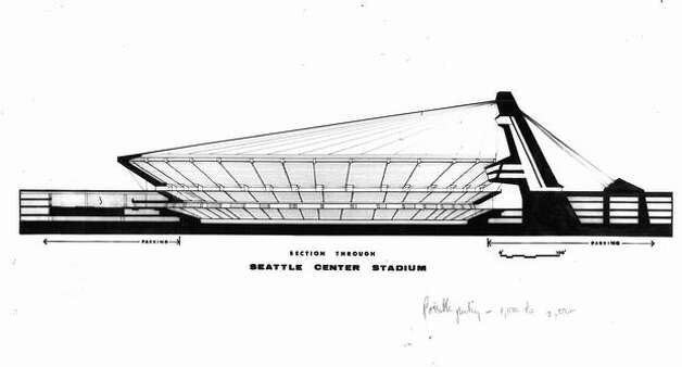 A November 1967 proposal for a stadium at Seattle Center. Photo: P-I File
