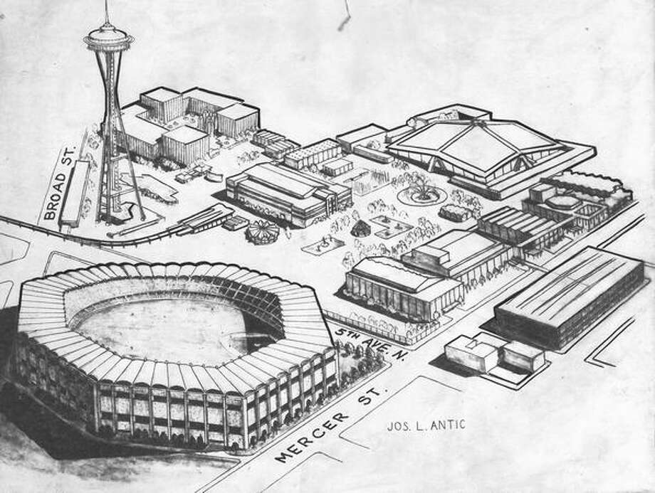 The July 1963 photo caption read: This sketch, looking southwesterly, shows in foreground the proposed 50,000-seat sports stadium advocated by State Rep. Ray Olsen for erection on the tract where Seattle Transit now has its barns and parking lot across 5th Ave. N. from the World's Fair site. Open space at right center shown as plaza is site presently occupied by the High School Memorial Stadium, which would be razed under Olsen's plan. Sketch was prepared by Joseph L. Antic, cartographer for King County Planning Commission. Photo: P-I File