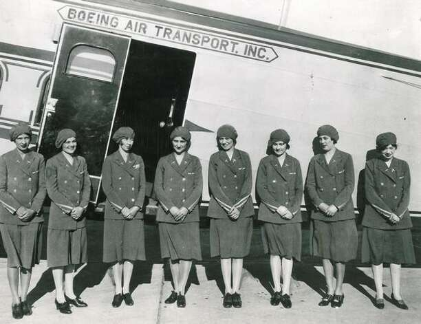 This photo shows original airline stewardesses recruited in 1930 by Boeing Air Transport, which combined with National Air Transport, Varney Airlines and Pacific Air Transport to create United Air Lines in 1931. Photo: P-I File