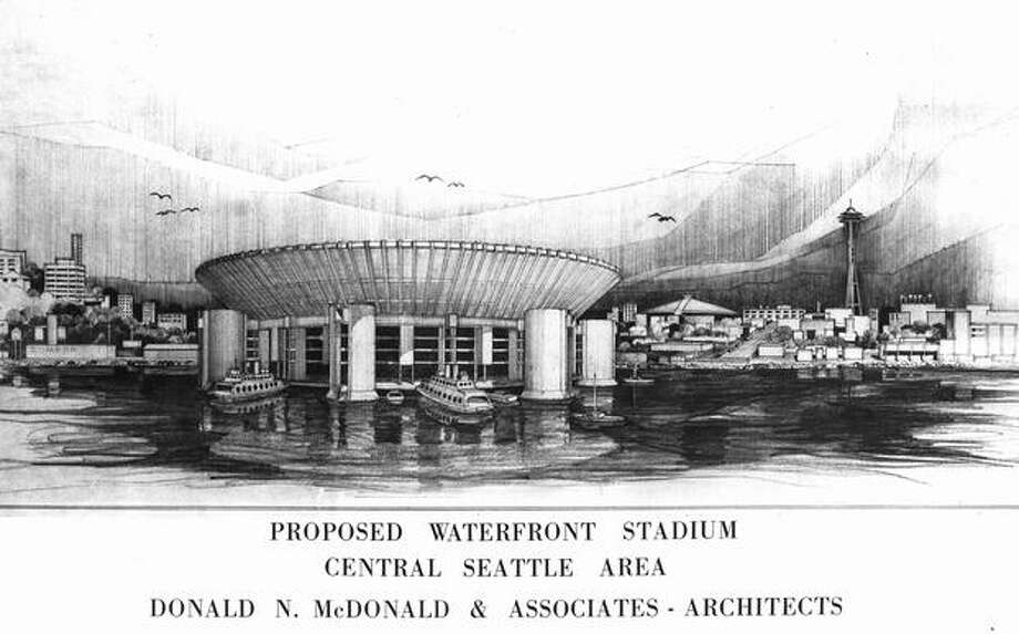 A March 1963 artist conception of a proposed Seattle all-purpose stadium. Photo: P-I File