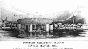 A March 1963 artist conception of a proposed Seattle all-purpose stadium.