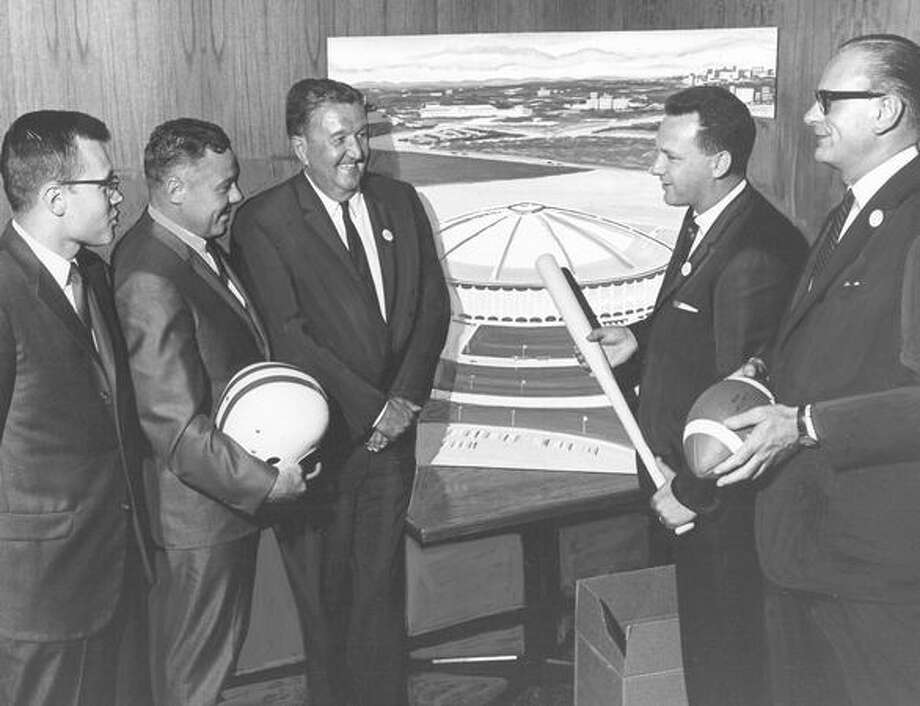 The August 1966 photo caption read: Leaders of communities throughout King County Joined the campaign for a domed, all purpose stadium at a meeting last week. The measure which will seek voter approval at the September 20 primary election would bring major league sports and a host of other activities to the area. The group included (left to right) Gilbert Bremicker, Normandy Park city manager; Bob Gaines, mayor of Auburn; Joe Gandy, leader of the stadium driver; Don Custer mayor of Renton; Clarence Wilde, mayor of Bellevue. Photo: P-I File