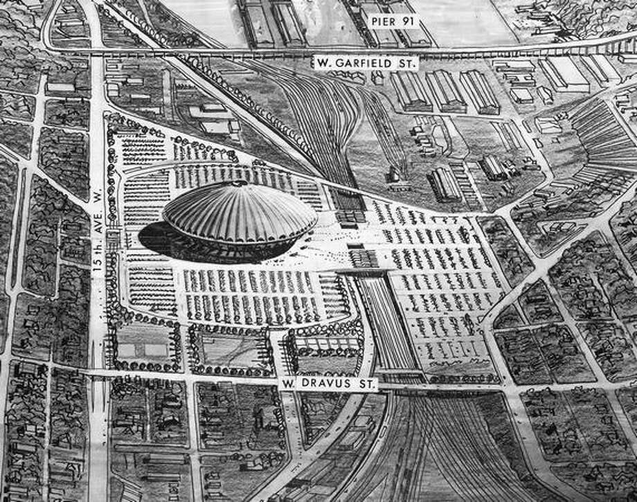 The September 1967 photo caption read: Interbay Site. A domed stadium on an 80-acre tract north of Pier 91 bordering 15th Avenue W. between W. Garfield and W. Dravus Streets. View is south. Sketch by Bain, Brady & Johanson, architects and planners. Photo: P-I File