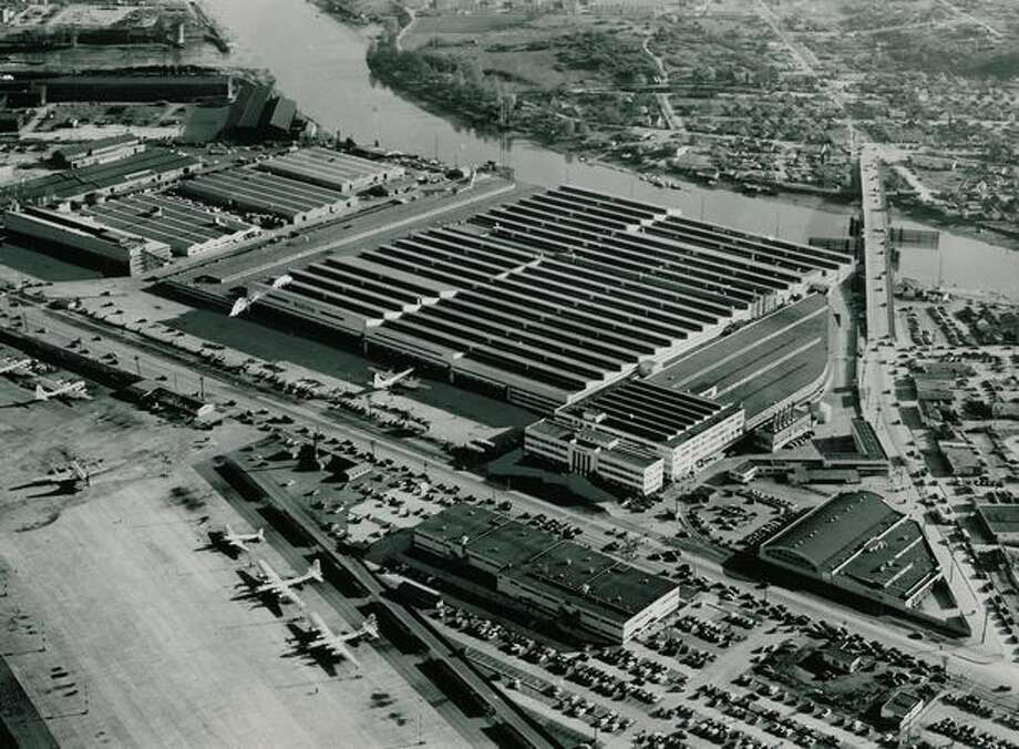 An aerial photo from 1950 of Boeing Field and Boeing facilities. Photo: P-I File