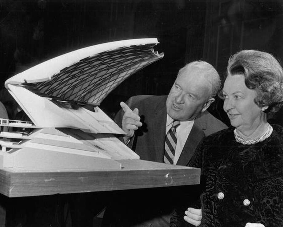 The April 1969 photo caption read: American League President and Mrs. Joe Cronin inspect cut-away section of the wood domed stadium model designed for Weyerhaeuser Co. which calls for a clear span of 840 feet which reaches 250 feet in height at it's apex. The Houston Astrodome measures only 642 feet in diameter and rises only 206 feet above ground. Photo: P-I File