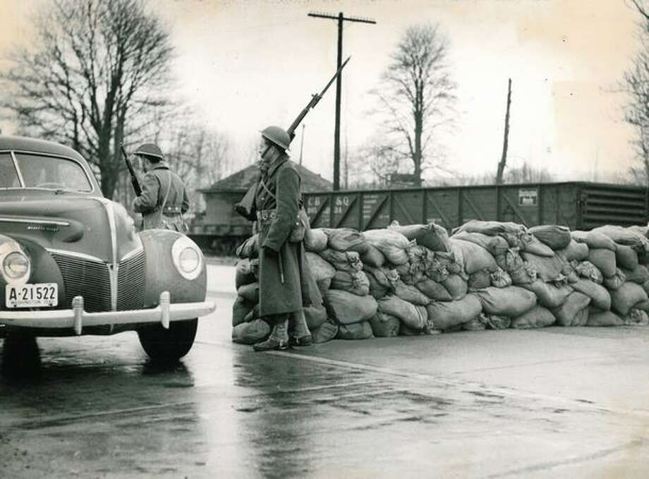 Sand bags on Tacoma Highway near Boeing in 1941. Photo: P-I File