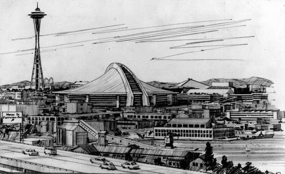 A 1968 stadium proposal near the south end of Lake Union. Photo: P-I File