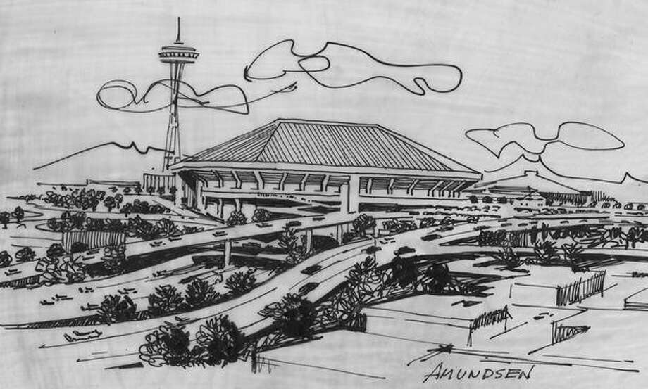 The May 1970 photo caption read: The multi-purpose domed stadium will look like this at the eastern edge of the Seattle Center. Photo: P-I File