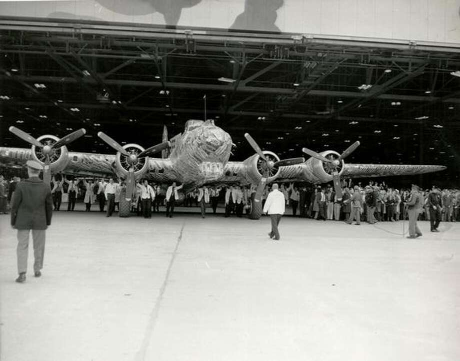 Rollout of the last Boeing-built B-17 Flying Fortress from Plant 2, in Seattle. Photo: The Boeing Company