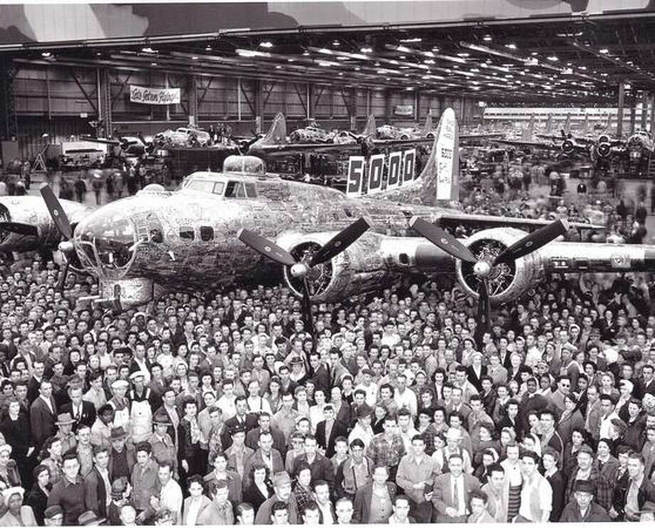 Rollout of the 5,000 B-17 Flying Fortress built by Boeing since the attack on Pearl Harbor, at Plant 2, in Seattle. Photo: The Boeing Company