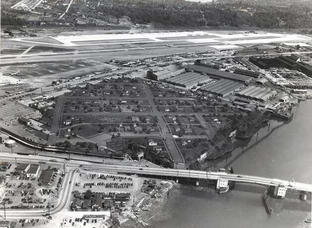 Camouflage disguising Boeing Plant 2, in Seattle, as a residential neighborhood in the 1940s. (seattlepi.com file) Photo: The Boeing Company