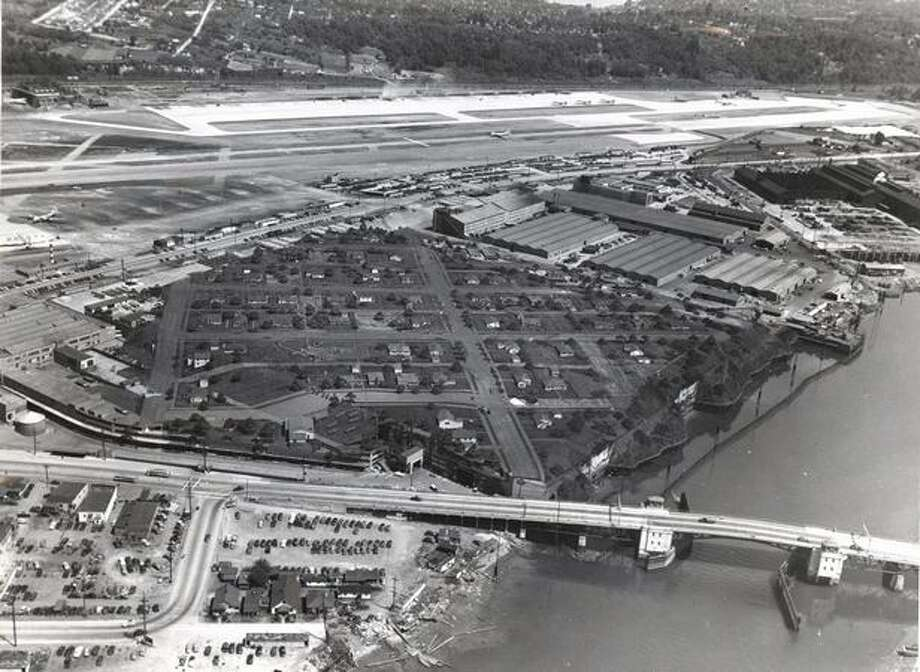 Camouflage disguising Boeing Plant 2, in Seattle, as a residential neighborhood. Photo: The Boeing Company