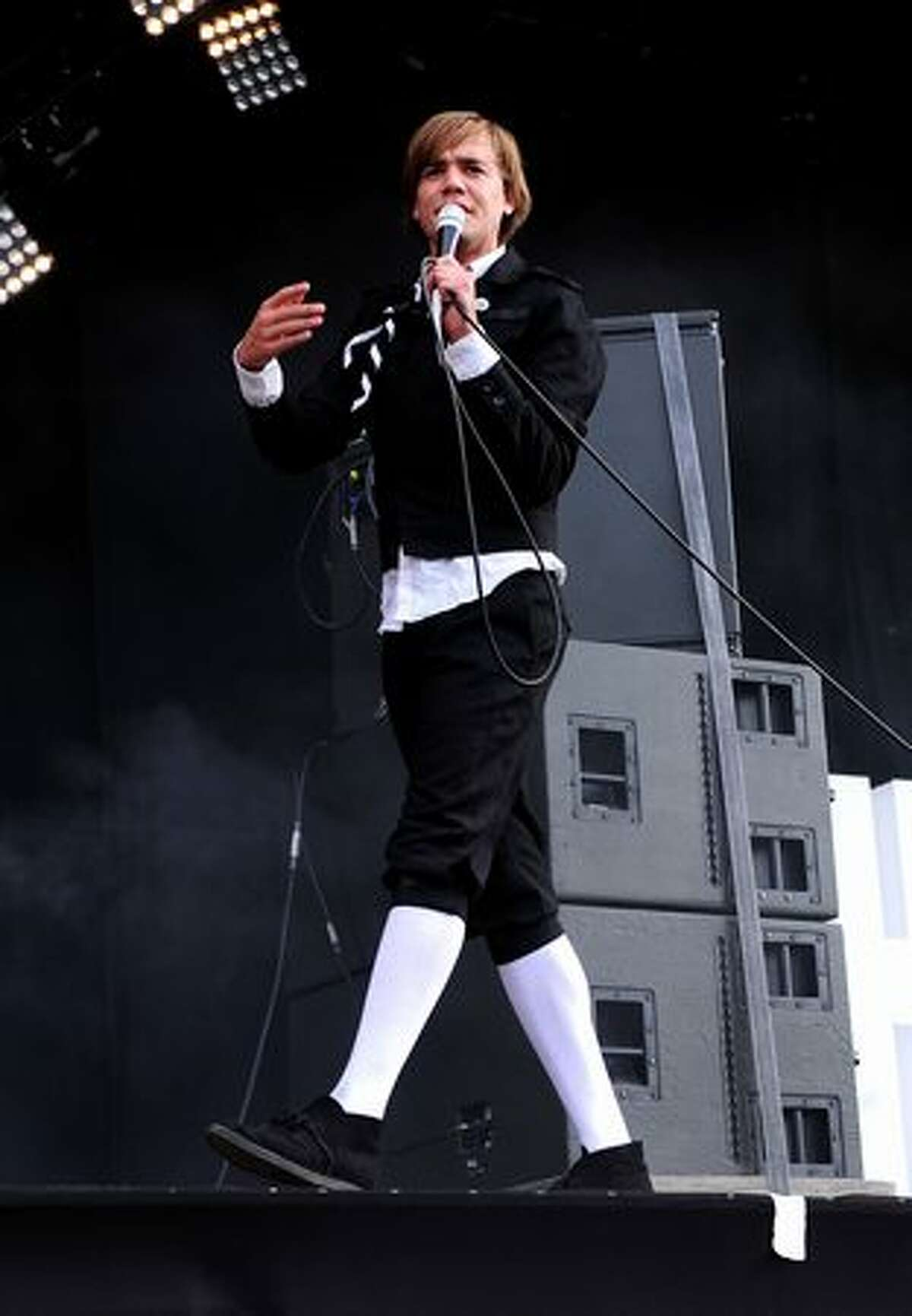 Pelle Almqvist of The Hives performs during Day 1 of the Hard Rock Calling festival held in Hyde Park on June 25, 2010 in London, England.