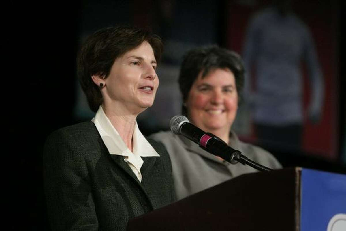 Former Seattle Deputy Mayor Anne Levinson and Microsoft VP Lisa Brummel, new owners of the Storm, speak during the 2008 Seattle P-I Sports Star of the Year banquet. Levinson has been a municipal court judge, police overseer and canny strategist of the state's marriage equality campaign.